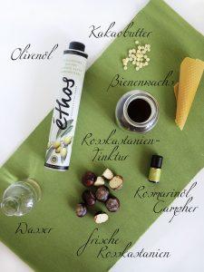 Zutaten für Venencreme aus Rosskastanien